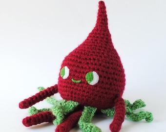 Rashida Radish Crochet Doll   Ready to Ship, Vegetable Stuffed Toy, Radish Doll, Radish Toy, Yarn Radish, Crochet Radish Doll