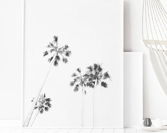 Palm Trees Print, Palms Wall Art, Palms Large Poster, Monochrome Palms, Printable Palm Trees, Minimalist Tropical Art, Tropical Wall Art