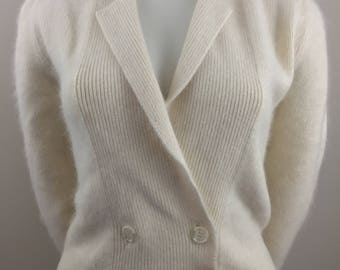 Vintage Side Effects Lambswool and Angora Ivory Double-Breasted Cardigan Sweater /Size Small