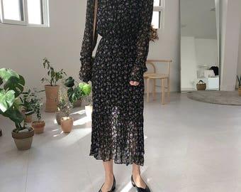 Floral Maxi Dress Long sleeves/ Conservative Dress/Urban Evening Dress/Boho Maxi Dress/Gypsy dress/Romantic Maxi Dress