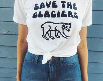 Save the Glaciers Polar Bear Tee Global Warming Womens T-Shirt