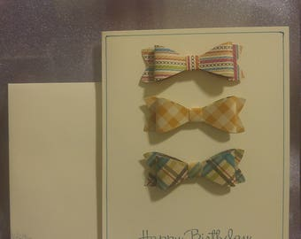Happy Birthday Card - Bow Ties - Masculin - Just Thinking of you on your Birthday - Patterned paper - Embelished Envelope - Hand Crafted