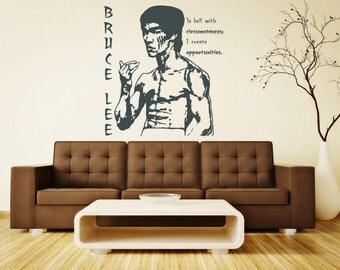 Bruce Lee Wall Sticker Vinyl Decal Kung Fu Stencil Art Gift