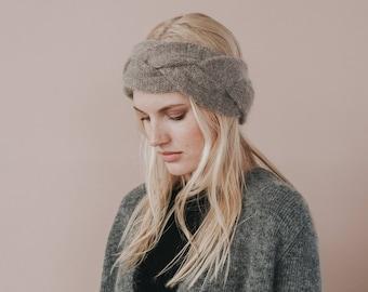Mohair Knit Headband //Braided Earwarmer //Moca Colour