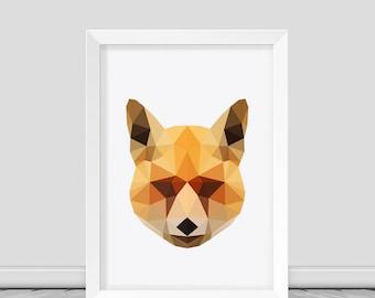 Fox Print Fox Print Art Fox Wall Art Fox Poster Low poly fox print Home Decor Printable Animal Art Fox Wall Print Downloadable