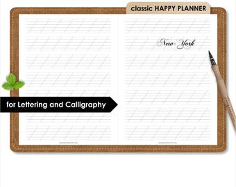 """CALLIGRAPHY Lined Paper Hand Lettering Practice Classic Happy Planner Size 7""""x9.25"""" Planner Paper Inserts PRINTABLE"""