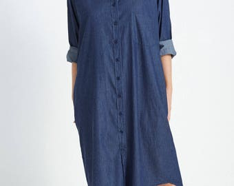 Boyfriend Shirt Dress in Denim Chambray