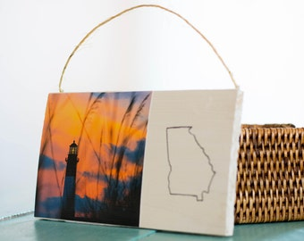 Wooden Wall Art, Tybee Island Lighthouse on the Beach, Small Rustic Georgia Hanging Signs, Home Decor, Hanging Twine, Gift, Plaque, sunset