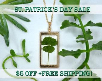 "SALE! Genuine 5 Leaf Clover Rectangle Necklace [AC 011] /Rose Gold Tone 18"" Necklace / White Clover Pendant/Triforium Repens/Good Luck Charm"