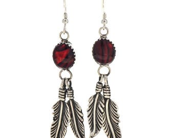 Red Paua Shell Silver Native American Feather Earrings French Hooks Navajo Jewelry