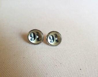 Platform 9 3/4 glass dome earrings