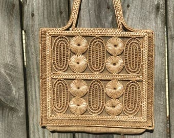 Vintage Woven Reed Bag Made in The People's Republic of China