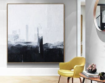Black White Art, Contemporary Art, Hand Paint, Abstract Painting, Black White Abstract, Painting on canvas, Large Wall Art, Painting Art