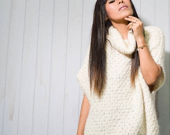 Ivory Oversized Alpaca Poncho, Knit Alpaca Poncho, Alpaca Poncho, Kintted Coat, Woman's Poncho, Woman's Clothing, Gift, Gift For Her