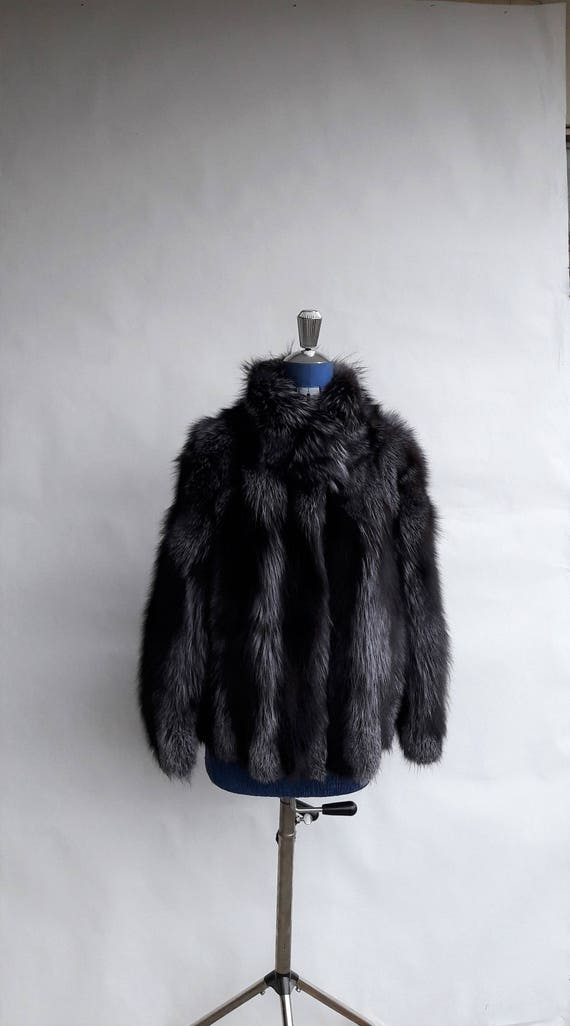 SILVER FOX FUR jacket / coat with collar