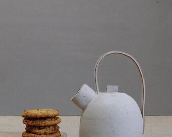 Ceramic teapot - vanilla - Handmade stoneware pottery, coastal inspired, housewarming gift, present, birthday, wedding