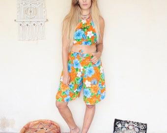 Vintage 90's Hawaiian Print Two Piece