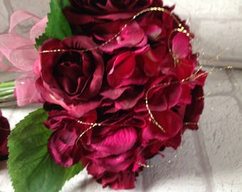 Rose and hydrangea bouquet,Deep red rose and hydrangea bouquet,Burgundy wedding bouquet,Hand tied silk rose and hydrangeas,Burgundy wedding