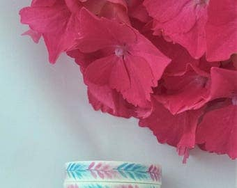 Water Colour Leaves Washi Tape//Pink//Blue