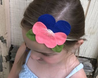 Felt Flower Headband, Pansy, Spring Headband, Photo Prop, Hair Accessory