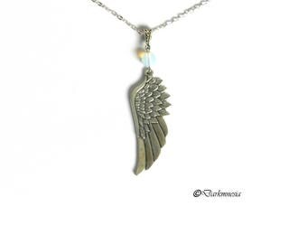Necklace, opaline, beads, pendant, angel, wing, goth, gothic