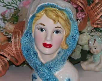 "Lefton Large 6"" Vintage Headvase Lady head vase Young Shirley McLaine Adorable"