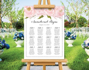 Modern wedding seating chart, wedding seating plan poster, personalize wedding sign, blush watercolor floral, silver glitter, printable