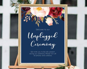 Unplugged Ceremony Sign, Unplugged Wedding Sign, Unplugged Sign, Burgundy, Navy Blue, Wedding Sign Printable, Instant Download, #A004