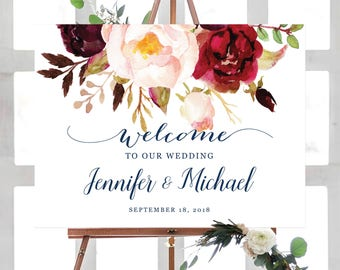 Wedding Welcome Sign, Wedding Welcome Sign Template, Printable Wedding Welcome Sign, Ceremony Welcome Sign, Navy Blue, Boho Chic