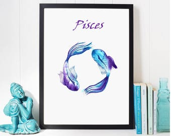 Pisces Painting; Zodiac Art print; Personalized gift Pisces; Fishes Star Sign; Zodiac sign art, goldfish poster; fishes wall art; fish print