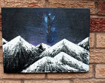 Night Sky Painting, Acrylic on Canvas, 30x40cm, Wall Decor Contemporary Art, Palette Knife Painting