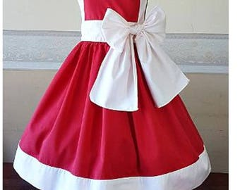 Ceremonial red and white girl dress - cotton flower girl