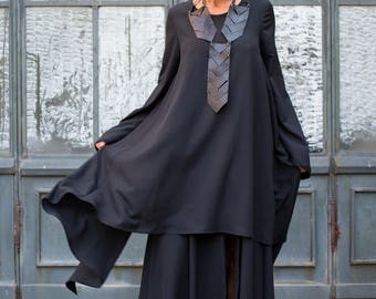 Maxi Dress, Plus Size Maxi Dress, Black Maxi Dress, Gothic Dress, Long Dress, Maxi Kaftan, Boho Dress, Club Dress, Long Sleeved Dress