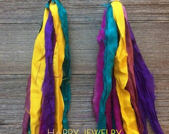 Colorful Sari silk earrings