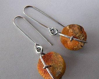 Baltic amber, raw amber, earrings, sterling silver