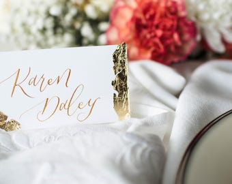 Custom Calligraphy Place Cards // Calligraphy Wedding Place Cards, Metallic Calligraphy Place Cards, Wedding Calligraphy, Custom Place Card