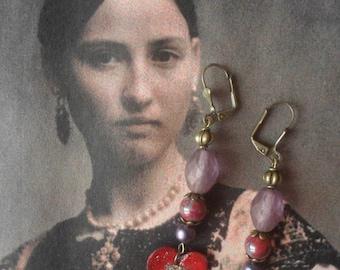 Earrings poetic rustic beads and copper enamel heart