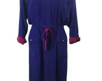 Vintage 70's Leslie Fay Collection Purple Maxi Dress