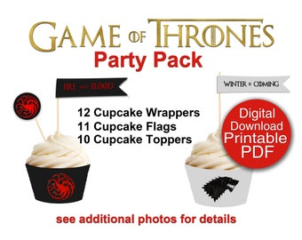 Digital Game of Thrones Party Printable Cupcake Toppers and Wrapper Download