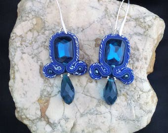 soutache earrings blue, soutache, soutache jewelry, handmade earrings, soutache jewels, soutache embroidery
