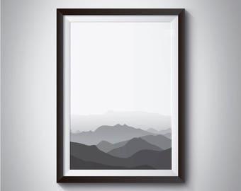 Mountain poster, Digital download print, Modern minimalist, printable wall art, instant download, Scandinavian print, Nordic poster