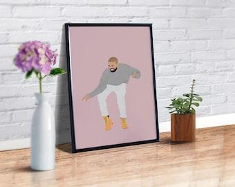 Drake Poster Print, Hotline Bling Poster, Drake Wall Art, Drake Dance, Music Poster, Minimalist Poster, Drake Gifts, Drake Decor,Drake Views