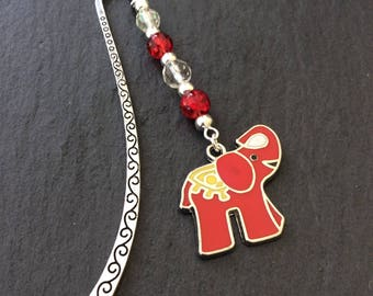 Red elephant bookmark / animal bookmark / bookmarks / book accessories / reading accessories / animal lover gift / book lover gift