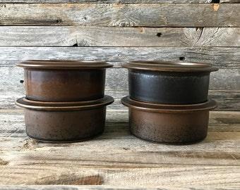 "Set of 4 Vintage Arabia Finland Ruska 5"" Bowls, Ruska Rim Bowls, Arabia of Finland Fruit/Dessert Bowls"