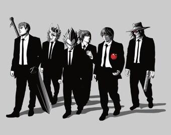 Anime Bad Dogs Tee /   Anti-heroes from Anime/ Reservoir Dogs T-shirt / Berserk, Kira, Alucard, Naruto, Ikki/ Free Shipping worldwide.