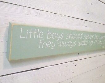 """Little Boys Should Never be Sent to Bed, Peter Pan Quotes, Nursery Decor, New Baby Gift, Baby Shower Gift, 24""""x3.5"""""""