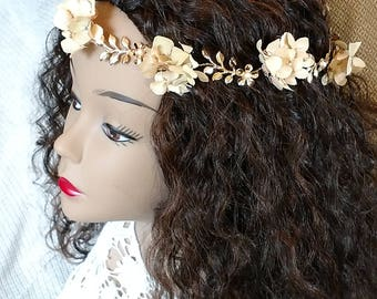 Gold, pearl and natural dried hydrangea bridal crown wedding crown bridal hair vine bridal wreath