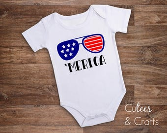 America baby // 'Merica //  Fourth of July Bodysuit