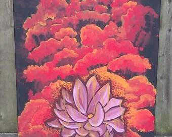 Lotus Flower Painting/ 14×18 Canvas/ Original Acrylic Painting
