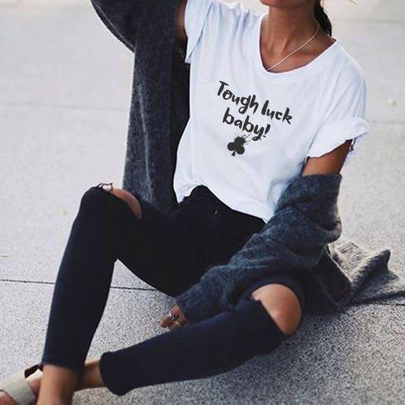 Tough luck, baby! | Playing cards tee |Clubs| Unisex Apparel | Women / Men Clothing | Poker T-shirt | Graphic Tee | ZuskaArt